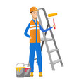 caucasian house painter holding paint roller vector image vector image