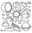 celestial elements doodle vector image vector image