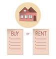 comparing buy and rent house list with bullets vector image vector image