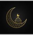 creative eid mubarak moon and mosque design vector image