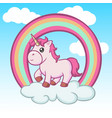 cute baunicorn on clouds and rainbow vector image vector image