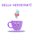 cute cartoon lilac smiling cup and text hello vector image