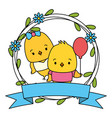 cute couple chicks animals wreath flowers vector image vector image