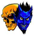 devil and skull head design vector image vector image