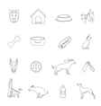 Dog icons outline vector image vector image