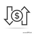 dollar rate outline icon black color vector image