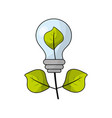 energy bulb plant with leaves to ecology care vector image vector image