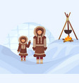 eskimos in national clothes woman and child in vector image