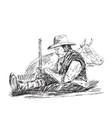 farmer is sleeping vector image vector image