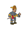 Fireman Firefighter Axe Thumbs Up Cartoon vector image vector image