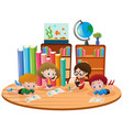 four kids learning in classroom vector image vector image
