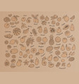 fruit icon hand-drawn set of fruits on kraft vector image vector image