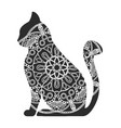 funny graphic cats with floral ornament vector image