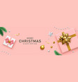 gift box gold bow ribbon and pink ribbon design vector image vector image