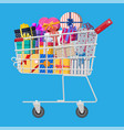 gift boxes in shopping cart vector image vector image