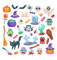 halloween icons funny holiday candle zombie vector image vector image