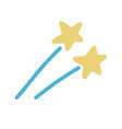 hand drawn shooting stars flat doodle icon vector image