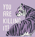 hand drawn tiger with feminist phrase and message vector image vector image