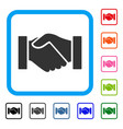 handshake framed icon vector image vector image