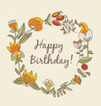 happy birthday greeting card circle floral frame vector image vector image