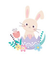 happy easter day rabbit in eggshell flowers vector image vector image