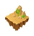 isometric desert landscape floating island stone vector image