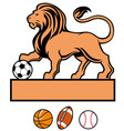 lion standing with various sport ball vector image vector image
