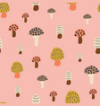 mushroom seamless pattern modern doodle vector image vector image