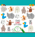 one a kind task for children with animals vector image vector image