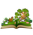 open book with farm animal cartoon playing in the vector image vector image