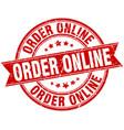 order online round grunge ribbon stamp vector image vector image