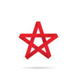 origami star red colored on a white background vector image vector image