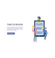 people give online customers feedback banner flat vector image