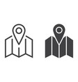 pinpoint on map line and glyph icon vector image vector image