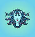 pisces girl portrait zodiac water sign doodle vector image vector image