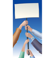 Placard in hands vector image