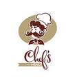 professional man chef with large mustache vector image vector image