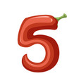 red pepper number 5 style vegetable food cartoon vector image vector image