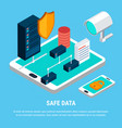 safe data isometric design concept vector image vector image