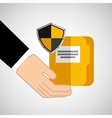security concept hand with folder vector image