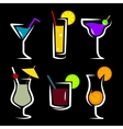 set of cocktails soft and long-drinks vector image