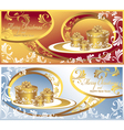Set Post cards with gifts for Christmas and New Ye vector image