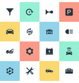 set simple car icons vector image vector image