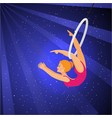 show in the circus girl acrobat performs a trick vector image vector image