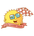 sun character with parasol vector image vector image