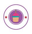 sweet cupcake celebration icon vector image vector image