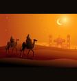 two arab men riding camels in desert vector image