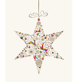 Vintage Christmas star bauble greeting card vector image vector image