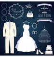 Wedding dresse and groom suit with different vector image