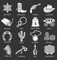 wild west icons set grey vector image vector image